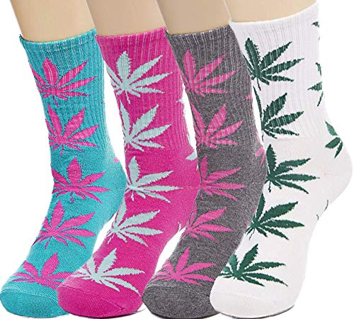 LUCKY BEN 4 pairs-pack Marijuana Socks Weed Leaf Printed Cotton Socks Unisex, fit for feet size 36-42 (A match)
