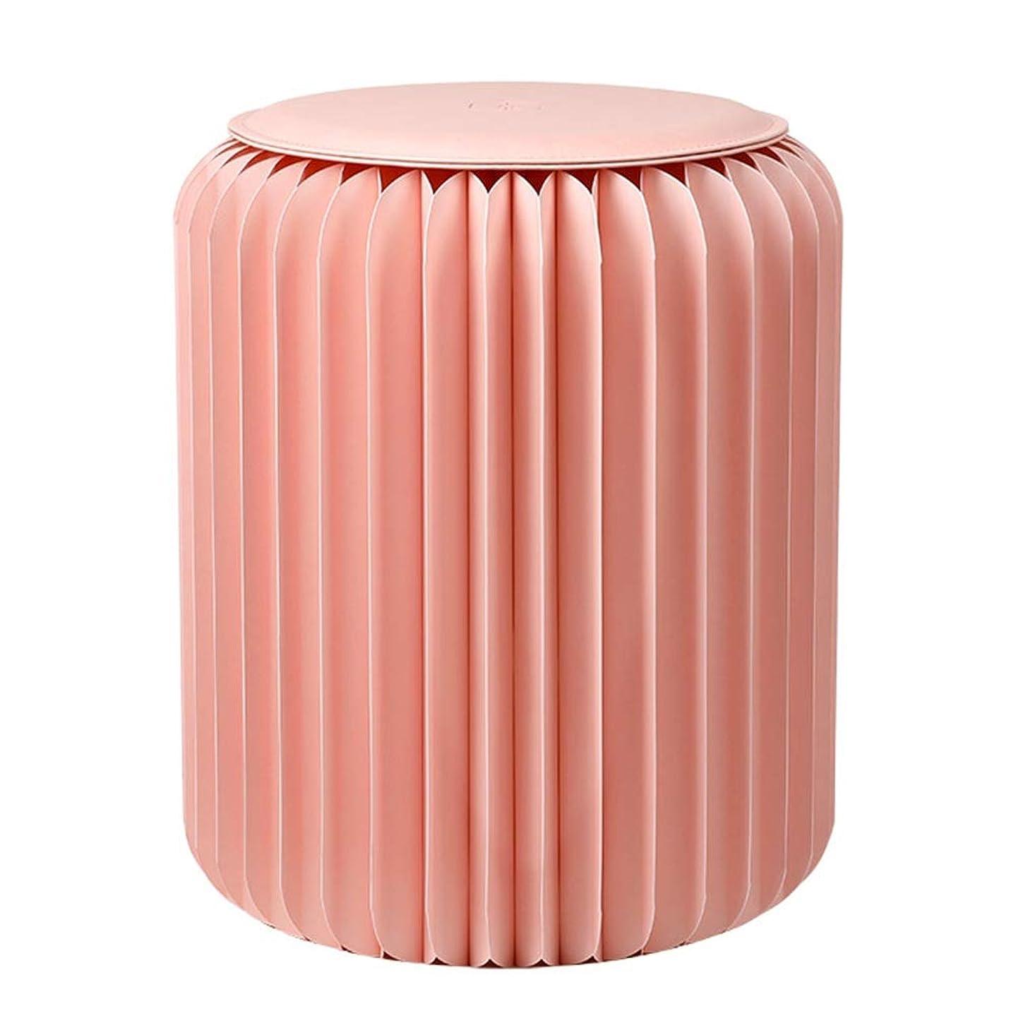 大カード抜け目のないスツール オットマンフットスツール ピンク小さなベンチ折り残りスツール変更靴ベンチ化粧スツールラウンドスツールレザーパッドファッションコーヒーテーブル ZHAOFENGE (Size : L)