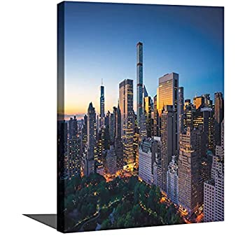 City Canvas Art Paintings Sun Rising over Central Park in Manhattan Tranquil Morning Skyscrapers Stretched and Framed Ready to Hang pictures for Living Room wall Decorations 8 x12