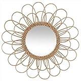 PEGANE Miroir en rotin Fleur Coloris Beige - Dim : D 56 cm
