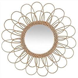 PEGANE Miroir en rotin Fleur Coloris Beige – Dim : D 56 cm