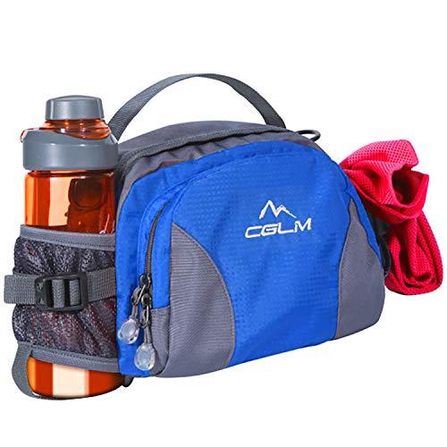 Gürteltasche zum Wandern, mit Wasserflaschenhalter, für Damen und Herren, für Outdoor, Laufen, Lendenwirbelsäule, passend für iPhone, iPod, Samsung Handys, Blue0002 (Blau) - CGLM01