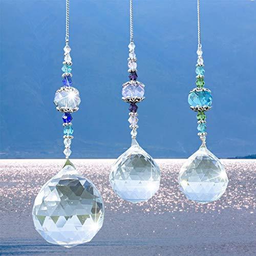 Cozywind Bola de Prisma de Cristal,Cristal Decorativo Arcoíris,Para de Ventana Colgante lámpara de Techo Iluminación Colgantes Colgantes Decoración de Boda y Navidad(3 piezas)