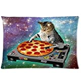 HommomH 60' x 80' Blanket Comfort Warmth Soft Cozy Air Conditioning Easy Care Machine Wash Classic POP Space Cats and Pizza