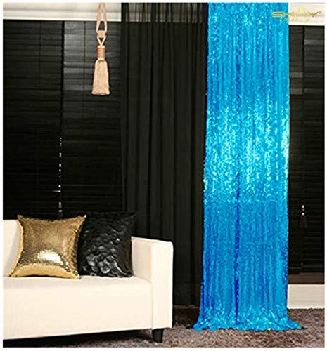Sequin Curtains 2 Panels 2FTx8FT Turquoise Glitter Backdrop Aqua Blue Sequin Photo Backdrop Backdrop Curtains M1120