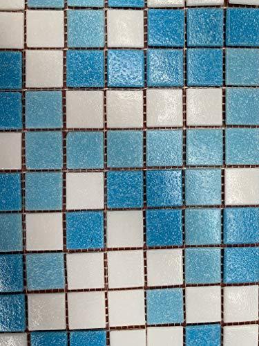 Cottoceram, Mod. Mix blau und weiß Mosaik Glas in 2,5 x 2,5 cm. Maschenweite: 30 x 30 cm. für Pool, Bäder oder Dekorationen