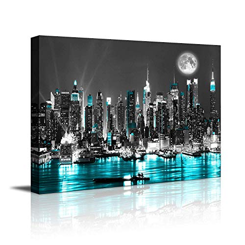 canvas wall art blue sea New York paintings Wall Art,Black and White Stretched wall art for bedroom artwork Canvas Art Prints, 16x20Wall Decoration Painting bedroom wall decor Office, Ready to Hang