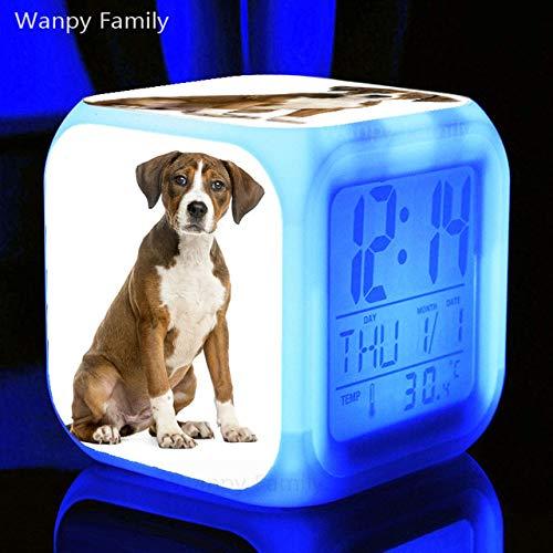 Zhuhuimin huisdier hond gouden reriever LED wekker 7 kleuren verlichte digitale wekker voor de kinderkamer nachtlampje elektronische klok