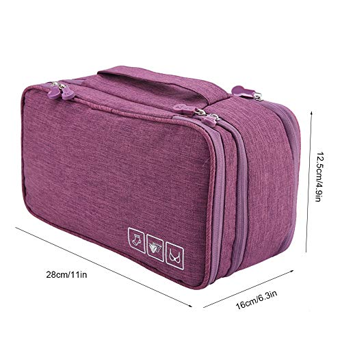 Travel Storage Bag, Portable Travel Storage Organizer Large-Capacity Waterproof Underwear Socks Bag USB Case for Luggage (Purple)
