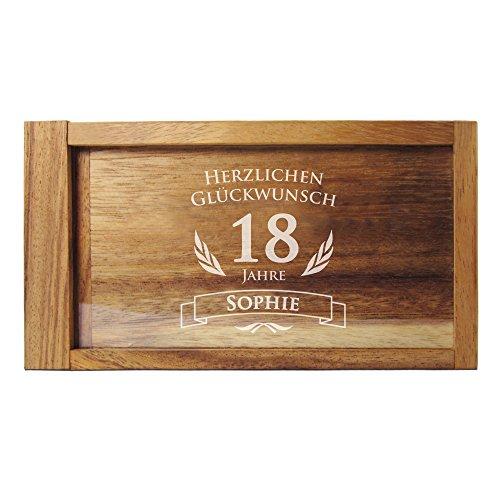 Casa Vivente – Magische Geldgeschenkbox mit Gravur – Personalisiert mit Namen und Jahreszahl – Knobel-Spiel – Geschenkverpackung – Geschenkidee für Frauen und Männer zum Geburtstag