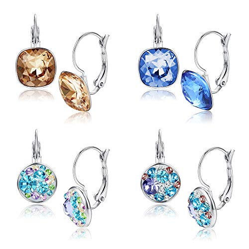 Milacolato 4 Pairs leverback Earrings Set for Women Crystal Dangle Hoop Earrings