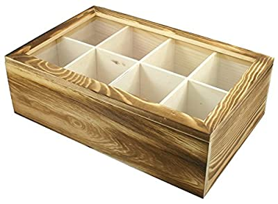 SALUS 8 Section Wood Tea Box, Tea Bag Organizer