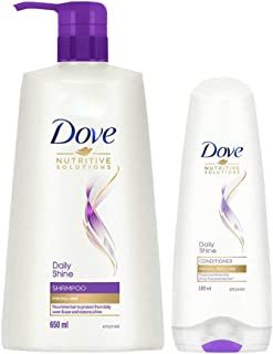 Dove Daily Shine Shampoo, 650 ml with Daily Shine Conditioner 180 ml