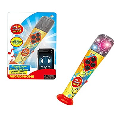 My Music World Microphone Karaoke for Kids - Flashing Lights, Musical Effects & Tunes - Connects to Smartphone and MP3 Player to Sing-Along by Ming Ye Toy