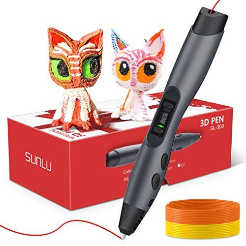 SUNLU Penna Stampa 3D, Penna 3D Intelligente Display LED, 8 velocità e Controllo della Temperatura, in Omaggio Due Confezioni di Ricariche per Filamenti PLA, Alimentato Tramite USB