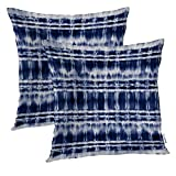 Batmerry Indigo Navy Blue Decorative Pillow Covers, 20 x 20 Inch Blue Shibori Abstract Tie Dye Striped Navy Indigo Double Sided Throw Pillow Covers Sofa Cushion Cover Square 20 Inches(Set of 2)