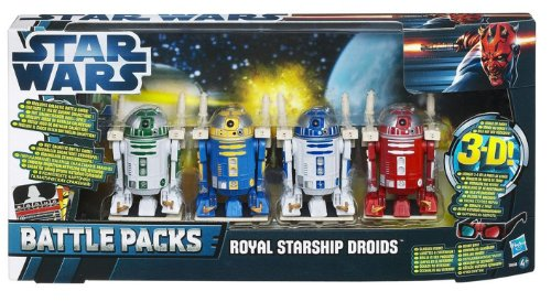 Star Wars Royal Starship Droids Battle Pack - 4 Astromech Droids: R2-D2, R2-B1, R2-N3 & R2-R3