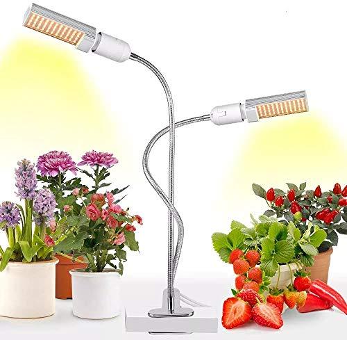 Relassy Pflanzenlampe LED, Vollespektrum Pflanzenlicht 45W mit Dualem Austauschbarem E27 Glühbirnen, Flexiblem Schwanenhals, EU-Stecker für Zimmerpflanzen, Gewächshaus
