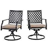 PHI VILLA Outdoor Metal Swivel Chairs Set of 2 Patio Dining Rocker Chair with Cushion Furniture Set for Garden Backyard Bistro, Small Grid, Black