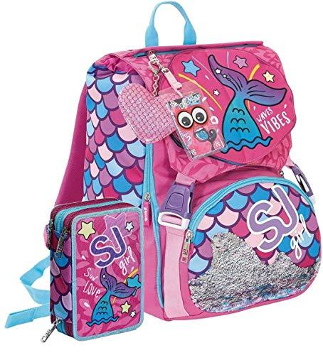 Schoolpack Seven SJ Gang Sweet Wave - Mochila extensible + Estuche completo con 3 cremalleras