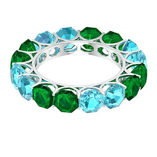 Moderna alianza de boda, 4,4 quilates, anillo suizo de topacio azul suizo, 3,8 ct 5 mm, anillo de esmeralda creado en laboratorio, anillo de eternidad completo, 14K Oro blanco, Size:EU 44