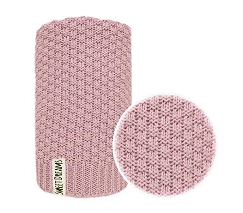 Baumwolle 100% Baby Strickdecke Kuschelige Decke ideal als Baby Decke, Erstlingsdecke, Wolldecke Baby Kuscheldecke 80x100 I 100x120 (1032) (Dunkelrosa, 80 x 100)