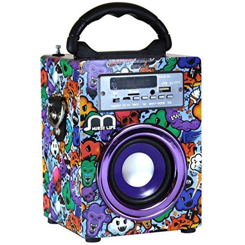 Music Life Altavoz Karaoke con Micrófono Bluetooth Portátil Inlámbrico USB Tarjeta TF...