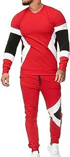 Giacca da Jogging da Uomo Moda Patchwork Manica Lunga Girocollo Top Pantaloni Sportivi Fitness Tuta da Jogging Tuta Sporti...