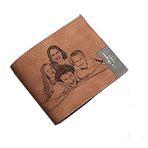 Cartera Personalizada de Cuero de la Cartera de la Foto del Mens - Un Regalo Personalizado cumpleaños/de la Navidad/del día de Padres para los Hombres y el papá