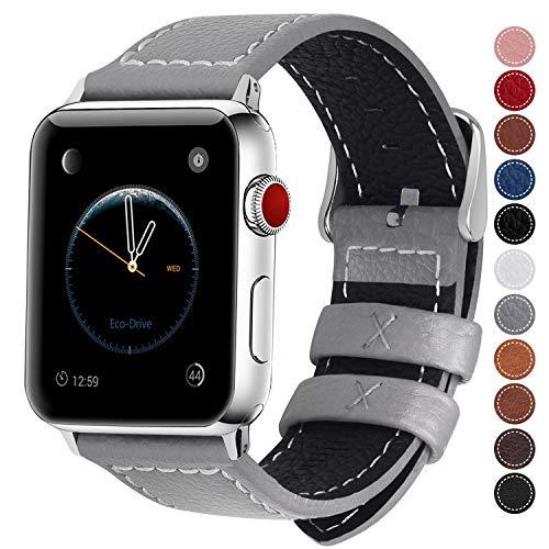 Fullmosa LC-Jan Cuero Correa, 7 Colores Correa Compatible Apple Watch/iWatch Series 3, Series 2, Series 1, 38mm, 42mm, Gris 42mm