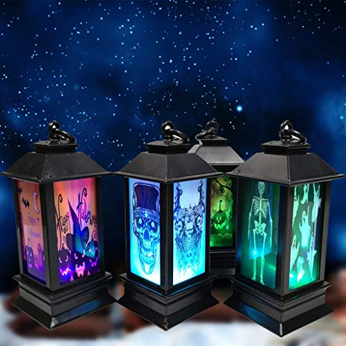 4 Stück Vintage Halloween Deko Hängende LED Laterne Nachtlicht, Hukz Simulierte Flamme Kerzenhalter Dekorative Öllampe Atmosphäre Licht Retero Lantern Oil Lamp LED Lights für Home Bar Party Dekoration