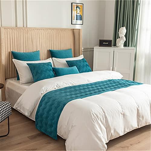Hotel Corredor de la Cama Moderno Color Sólido Terciopelo Bufanda de la Cama Inicio Protección Decoración Suave Colchas Decoración de la Cama Toalla de la Cama,Blue-50X210cm for 1.5m Bed