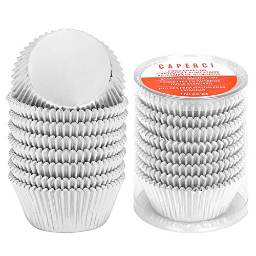 Caperci Silver Foil Cupcake Muffin Liners Standard Size Baking Cups 160-Pack - Premium Greaseproof & Sturdy