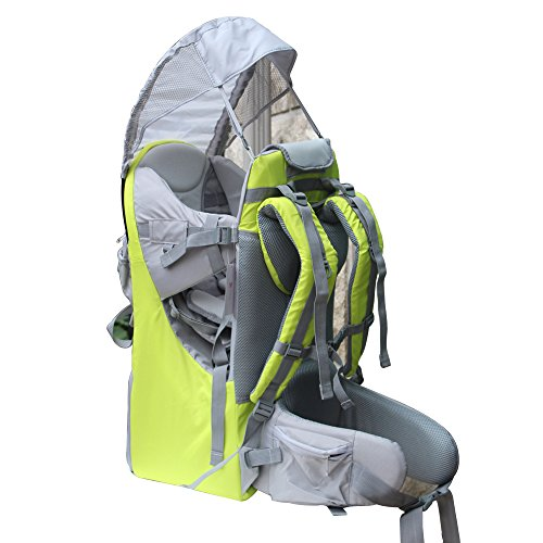 Baby Toddler Hiking Backpack Carrier Camping Child Carriers with Rain Cover Stand Child Kid Sun shade Visor Shield,Holds up to 50 Pound Ideal for Children Between 6 months-4 years Old (green)