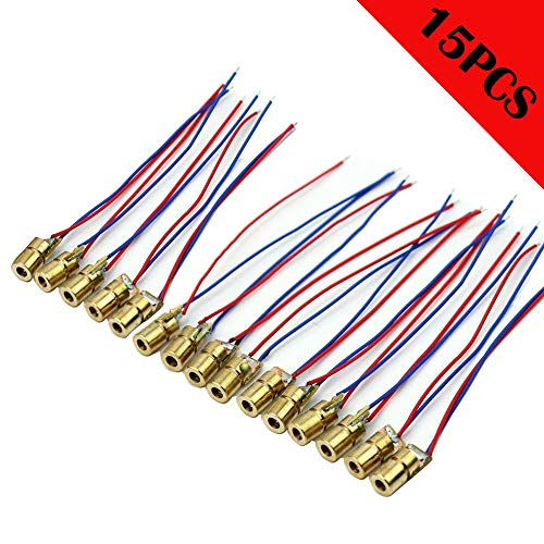 CESFONJER 15 Pcs Mini 5V Laserdiode Lasermodul Laser Punkt Dioden Laser Dot Laserdiodenmodul Head Diode 650nm 6mm
