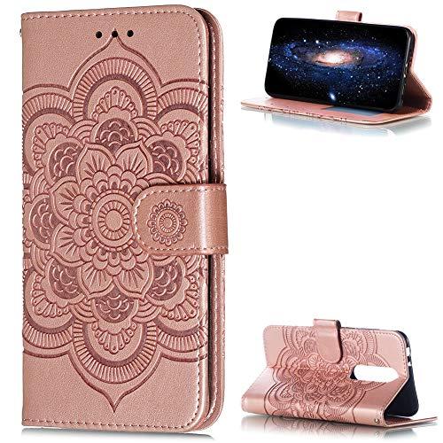 ZCXG Custodia per Nokia 5.1 Plus Cover Libro Custodia Portafoglio Donna Fiore Slim Custodia Silicone Cover Interno Magnetica Antiurto Custodia per Nokia 5.1 Plus Flip Cover Oro Rosa
