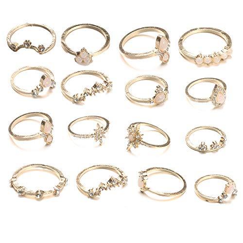CSIYAN 6-16 PCS Knuckle Stacking Rings for Women Teen Girls,Gold Boho Vintage Crystal Midi Finger Rings Set (Styel D:10pcs)