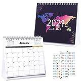NUOBESTY Calendario da Scrivania 2021 con 2 Fogli Adesivi 12 Mesi 20 X 21 Cm Calendario Mensile Planner Calendario Studenti Calendario Mensile da Tavolo Organizzatore Giornaliero