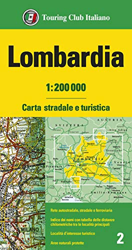 Lombardia 1:200.000. Carta stradale e turistica. Ediz. multilingue