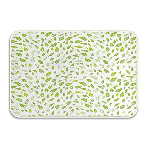 Foglia Vari tipi di foglie verdi fresche Illustrazione con giardino Stagione estiva Progettazione grafica Zerbino Tappetino antiscivolo Tappeti da bagno assorbenti Schiuma da bagno Tappetini da bagno