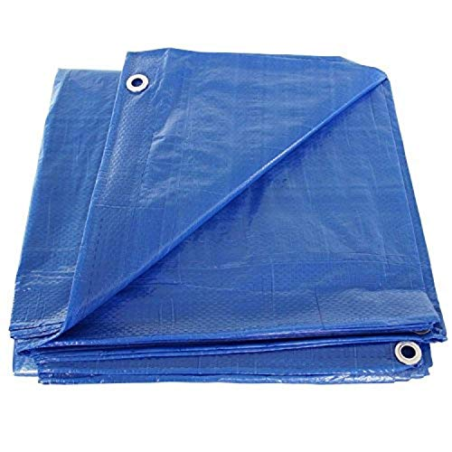 P-LINE - Lona grande azul – Lona para exteriores para piscinas, barcos, coches y camiones – Cubierta impermeable – Lona de polietileno resistente con ojales – 5 mm de grosor – amarre seguro (20 pies x 20 pies)