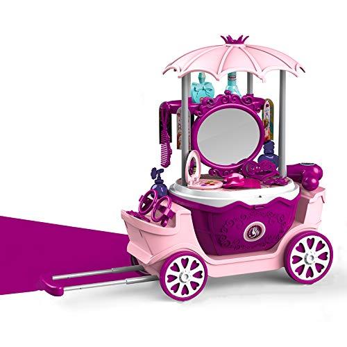 DQTYE Chilren - Juego de maquillaje para niños, con espejo realista, tocador, maleta para niñas
