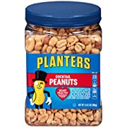 PLANTERS Salted Cocktail Peanuts, 35 oz. Resealable Jar | Heart Healthy Salted Peanuts | A Good Source of Essential Nutrients | Made with Simple Ingredients | Kosher