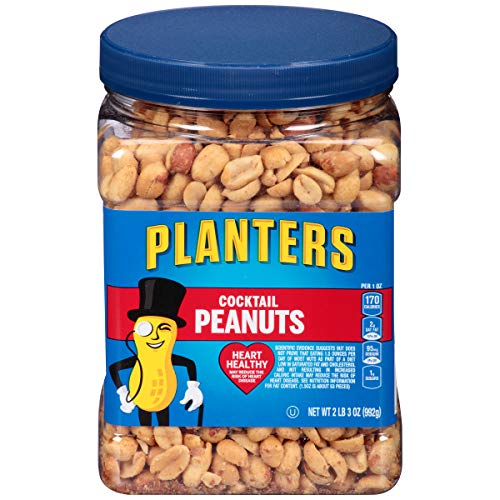 Planters Salted Cocktail Peanuts, 3 Oz. Resealable Jar - Heart Healthy Salted Peanuts - A Good Source of Essential Nutrients - Made with Simple Ingredients - Kosher (KFT-041)