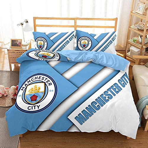 Duvet Cover Single Bed 135 x 200 cm Soft Microfiber Bedding 3-piece set with 2 Pillowcases 50 x 75 cm with Zipper Closure Manchester City Football Club pattern Duvet Cover Set