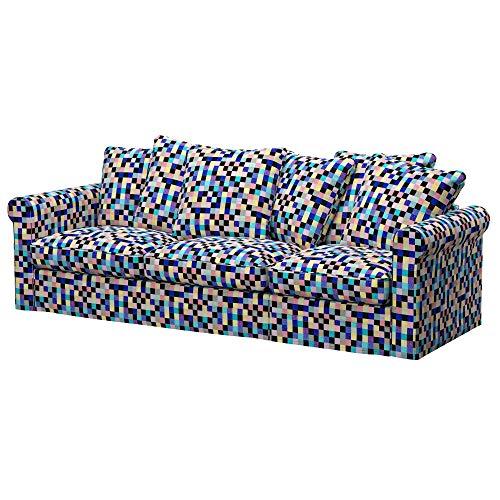 Soferia Funda de Repuesto para IKEA GRONLID sofá Cama de 3 plazas, Tela Mozaik Blue, Azul