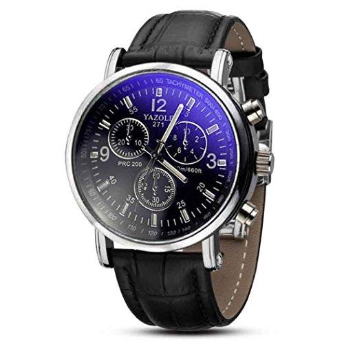 Amsion Marea Blue Ray Cuero de imitación de Cuarzo analógico Reloj de Las Hombre (Negro)