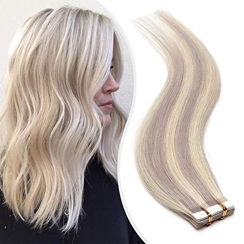 Elailite Extension Capelli Veri Biadesivo 20 Fasce Adesive Tape Extensions Biadesive Balayage senza Clips 100% Remy Human Hair 50cm 50g #60 Biondo Platino mix Grigio