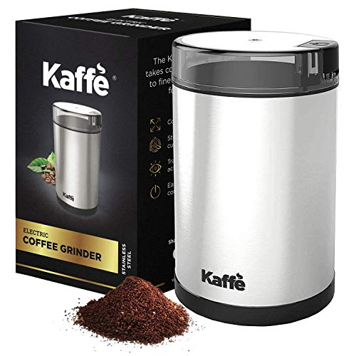 KF2020 Electric Coffee Grinder by Kaffe - Stainless Steel 2.5oz Capacity with Easy On/Off Button. Cleaning Brush Included!