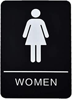 Women's ADA Braille Restroom Sign Black and White 6 by 9 inch
